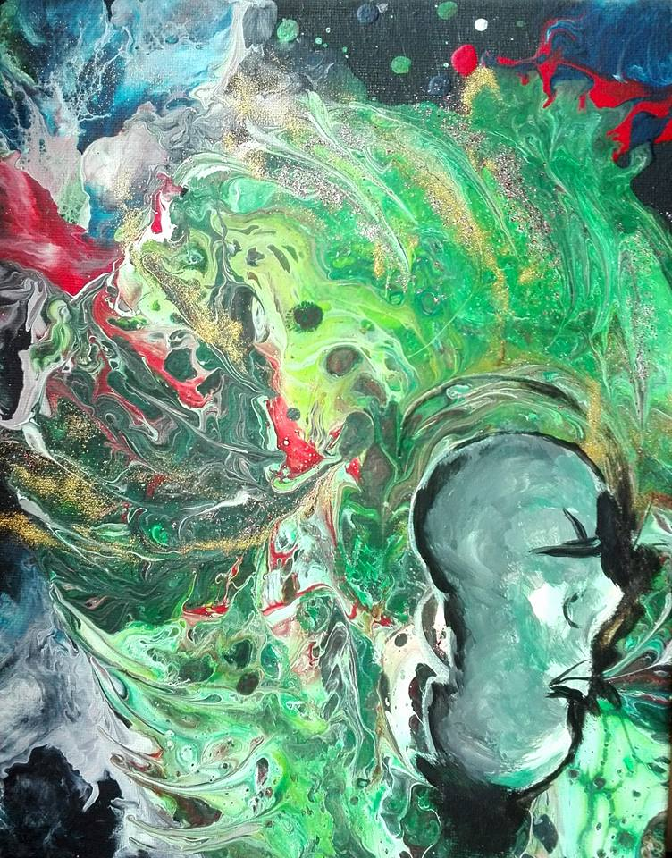 peinture fluide acrylique dirty pouring originalvert casque de jade visage femme spaciale extraterrestre galaxie verte profil