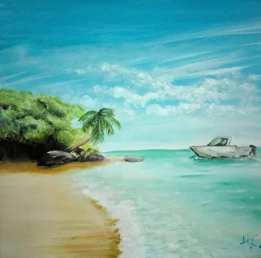 figuratif peinture paysage île plage ciel bleu mer turquoise vacances bateau palmier super sissi acrylistic