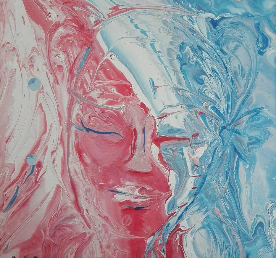 visages figure super sissi acrylistic peinture fluid dirty pouring visage fluid art rose bleu ambivalence dualité bicolore double face