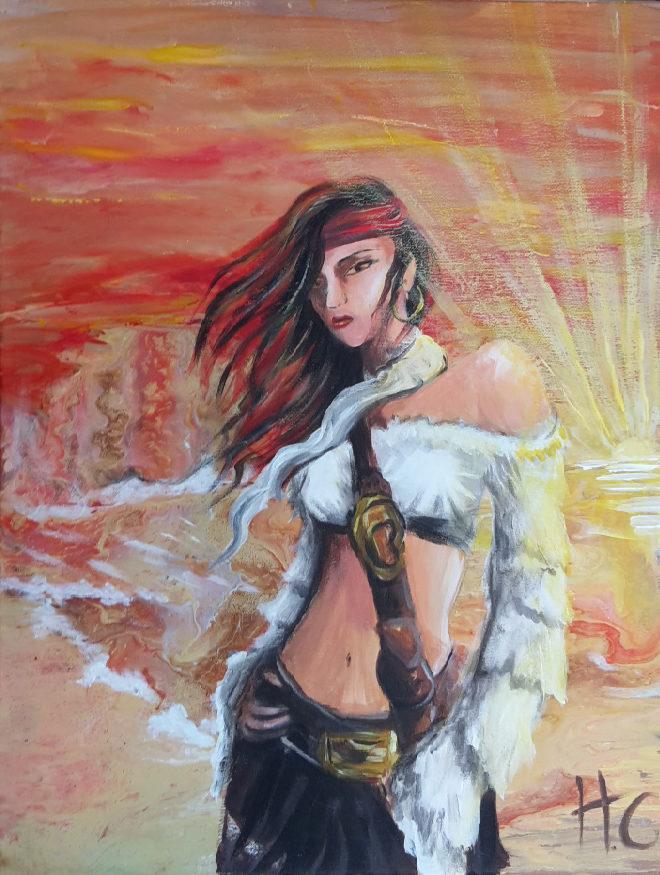 peinture acrylique portait plage Ching Shih chinoise pirate femme foulard bandeau rouge ciel coucher de soleil piraterie flotte red flag mysterieuse