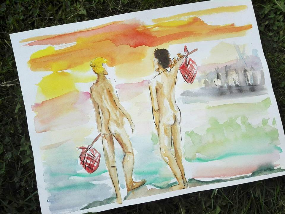 nans mots pause nus et culottes aquarelle paysage couleurs baluchon homme nu fesse