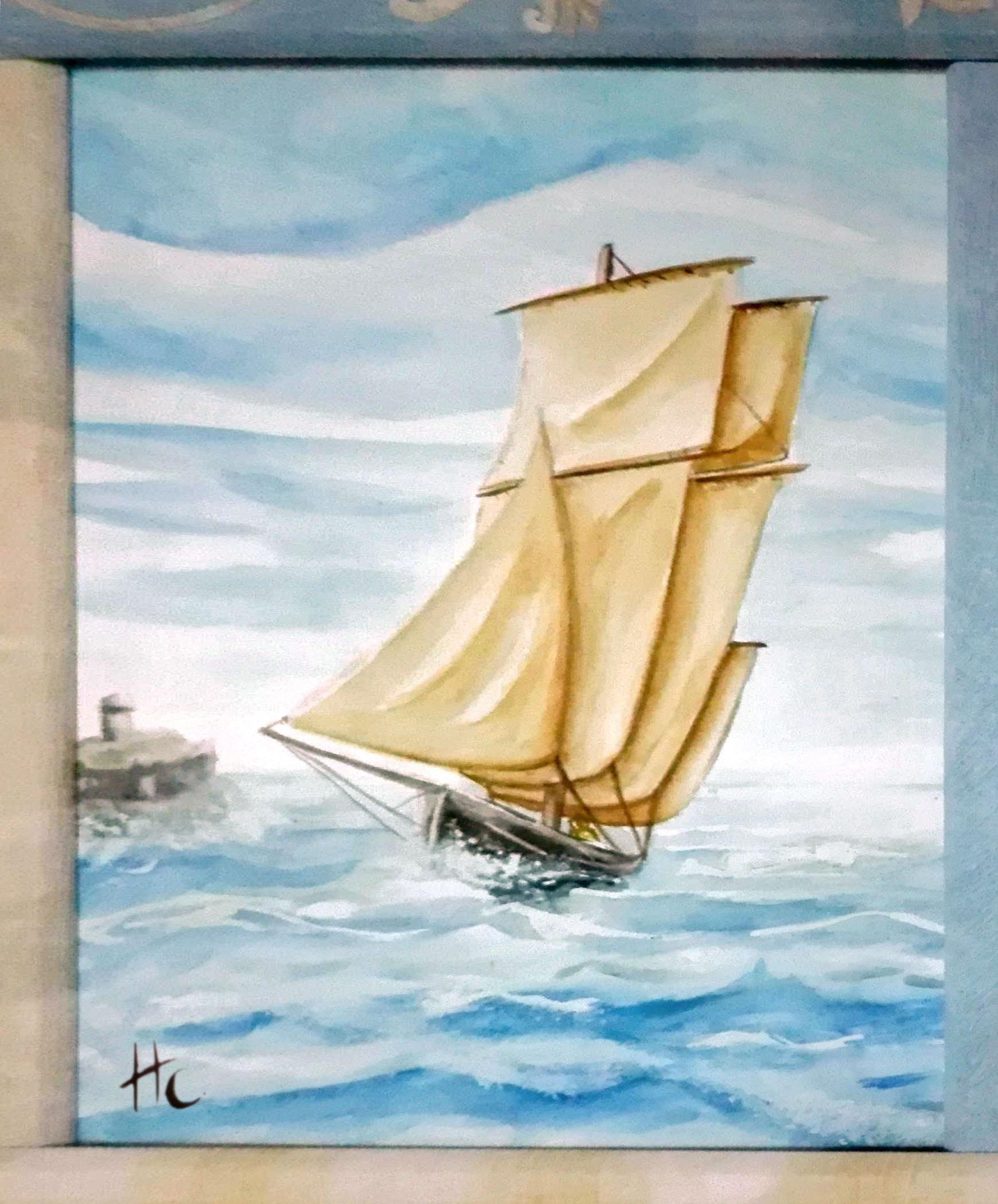 voilier super sissi acrylistic, aquarelle, route du rhum st malo bateau vague vogue