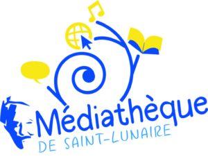 logo spirale, vague,  mediathèque jean rochefort bleu et jaune, livre, jean rochefort, silhouette, visage, instinct graphik saint lunaire